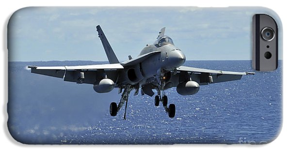 F-18 iPhone Cases - An Fa-18c Hornet Approaches The Flight iPhone Case by Stocktrek Images