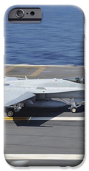 An Fa-18c Hornet Lands Aboard Uss iPhone Case by Stocktrek Images