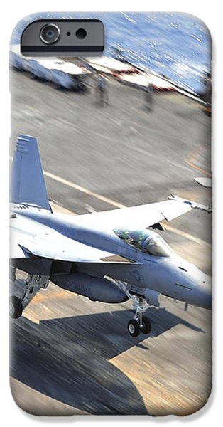An Fa-18e Super Hornet Lands Aboard iPhone Case by Stocktrek Images