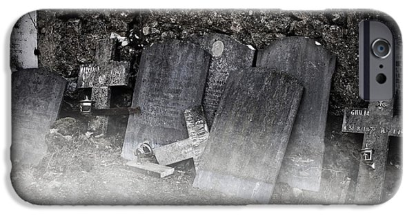 Cemetery iPhone Cases - An Old Cemetery With Grave Stones And Fog iPhone Case by Joana Kruse