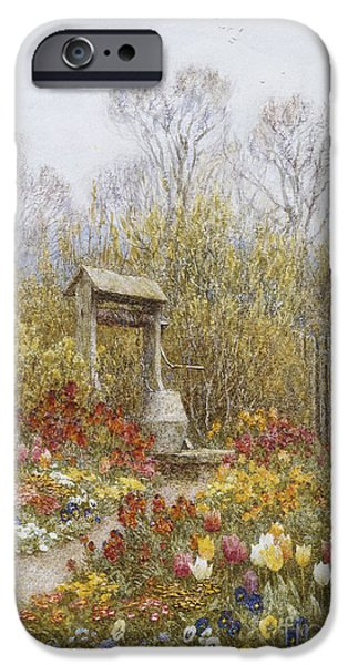 19th Century iPhone Cases - An Old Well Brook Surrey iPhone Case by Helen Allingham
