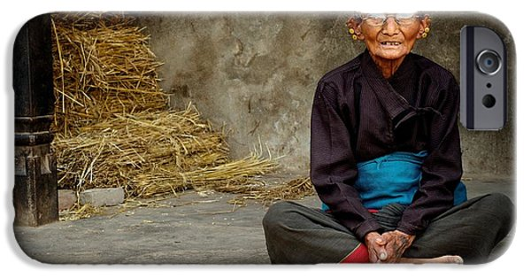 Rosen iPhone Cases - An Old Woman in Bhaktapur iPhone Case by Valerie Rosen