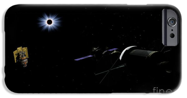 Solar Eclipse Digital iPhone Cases - An Orion Class Crew Exploration Vehicle iPhone Case by Walter Myers
