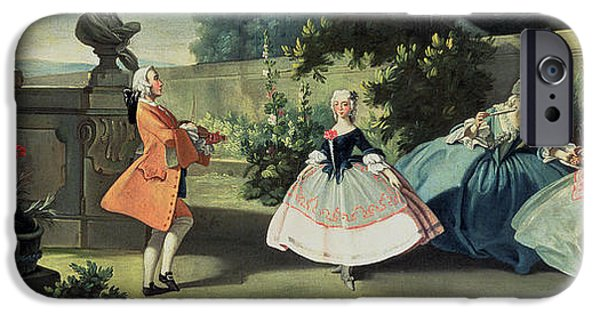 Young iPhone Cases - An Ornamental Garden with a Young Girl Dancing to a Fiddle iPhone Case by Filippo Falciatore