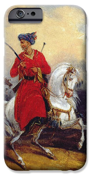 1796 iPhone Cases - An Ottoman on Horseback iPhone Case by Charles Bellier