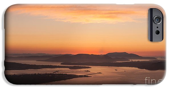 San Juan iPhone Cases - Anacortes Islands Sunset iPhone Case by Mike Reid