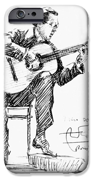 Autographed Drawings iPhone Cases - Andres Segovia iPhone Case by Granger