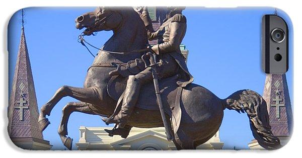 Landmark Digital iPhone Cases - Andrew Jackson Statue iPhone Case by Mike McGlothlen
