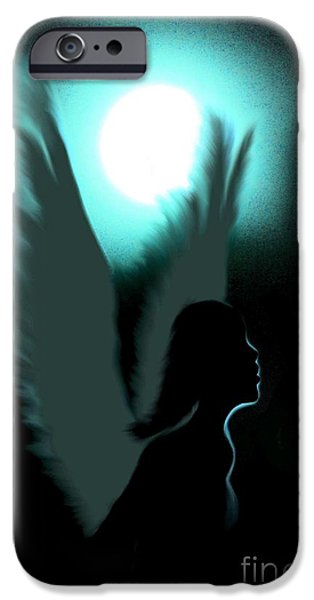 Night Angel iPhone Cases - Angel of Moonlight iPhone Case by Maria Urso