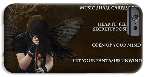 Night Angel iPhone Cases - Angel of Music iPhone Case by Serena Ballard