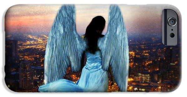 Night Angel iPhone Cases - Angel on Rocky Ledge Above City at Night iPhone Case by Jill Battaglia