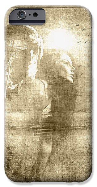 Angel Spirit Sepia iPhone Case by Yvon van der Wijk