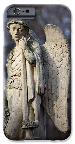 Cemetary iPhone Cases - Angel Statue iPhone Case by Artur Bogacki