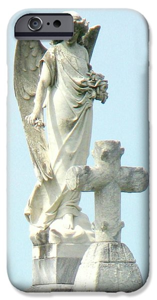 Jesus Sculptures iPhone Cases - Angels Are Watching iPhone Case by Jackie Jackson
