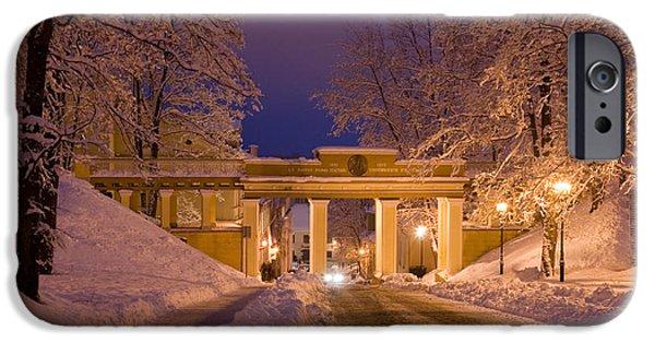 Night Angel iPhone Cases - Angels Bridge in Winter iPhone Case by Jaak Nilson
