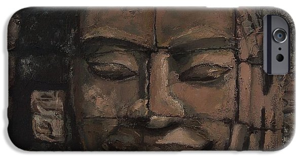 Statue Portrait Mixed Media iPhone Cases - Angkor Smile - Angkor Wat Painting iPhone Case by Khairzul MG