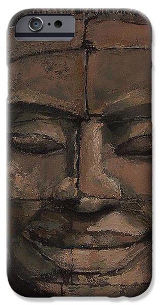 Angkor Smile - Angkor Wat Painting iPhone Case by Khairzul MG