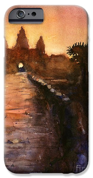 Buddhism Paintings iPhone Cases - Angkor Wat Sunrise 2 iPhone Case by Ryan Fox
