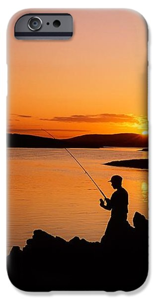 Angler At Sunset, Roaring Water Bay, Co iPhone Case by The Irish Image Collection