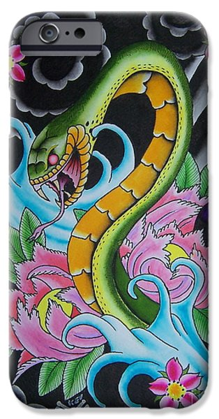 Tattoo Flash iPhone Cases - Angry Snake iPhone Case by Kev G