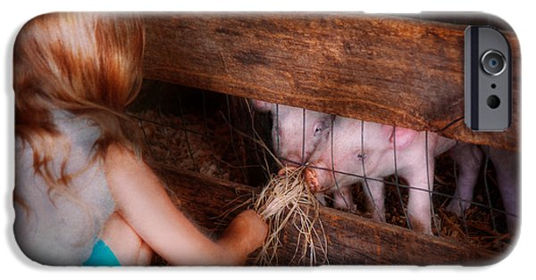 Fed Photographs iPhone Cases - Animal - Pig - Feeding piglets  iPhone Case by Mike Savad