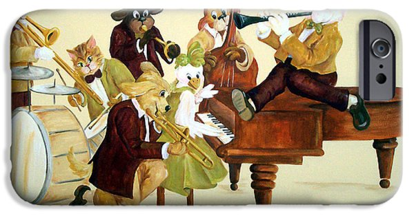 Grand Piano Paintings iPhone Cases - Animal Jazz Band iPhone Case by Deborah Smith