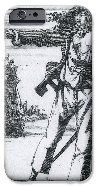 Famous Figures iPhone Cases - Anne Bonny, 18th Century Pirate iPhone Case by Photo Researchers