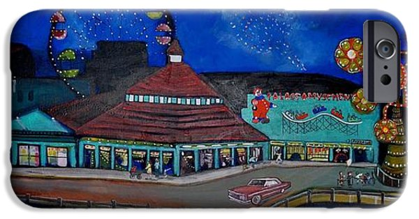Asbury Park Paintings iPhone Cases - Another memory of the Palace iPhone Case by Patricia Arroyo