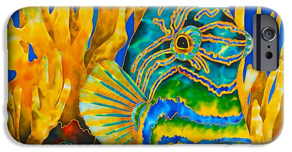 Triggerfish Print On Canvas iPhone Cases - Anse Chastanet iPhone Case by Daniel Jean-Baptiste