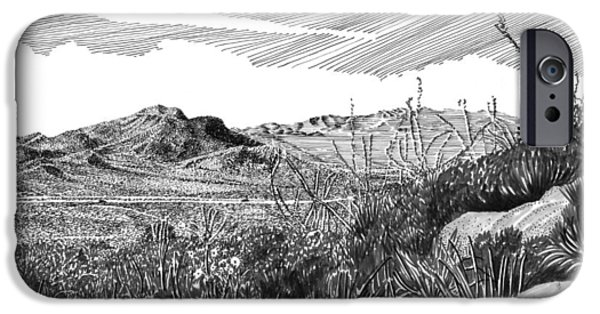 Pen And Ink Framed Prints iPhone Cases - Anthony Gap New Mexico Texas iPhone Case by Jack Pumphrey
