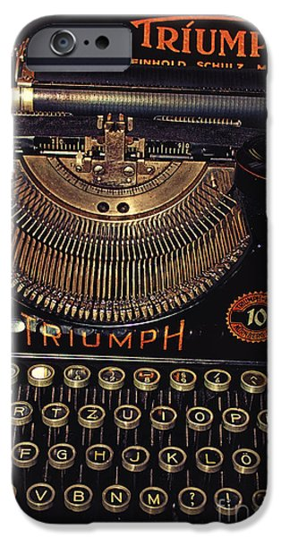 Outmoded iPhone Cases - Antiquated Typewriter iPhone Case by Jutta Maria Pusl