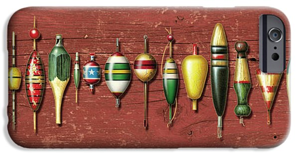 Angling iPhone Cases - Antique Bobbers Red  iPhone Case by JQ Licensing