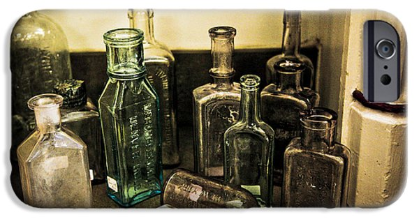 Stopper iPhone Cases - Antique Glass Bottles iPhone Case by Marilyn Hunt
