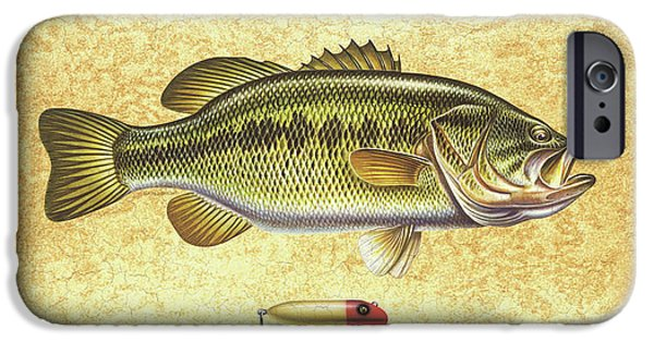 Tackle iPhone Cases - Antique Lure and Bass iPhone Case by JQ Licensing