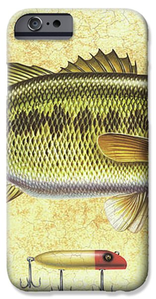 Antique Lure and Bass iPhone Case by JQ Licensing