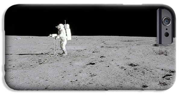 Moonscape iPhone Cases - Apollo 14 Astronaut Makes A Pan iPhone Case by Stocktrek Images