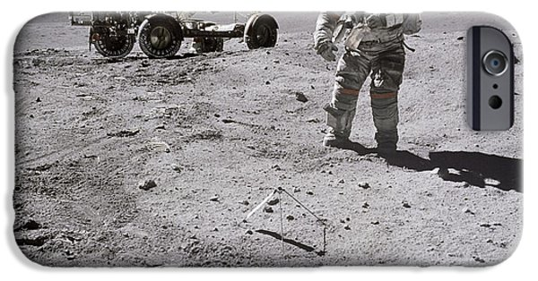 Moonscape iPhone Cases - Apollo 16 Astronaut Collects Samples iPhone Case by Stocktrek Images