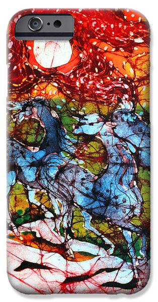 Evening Tapestries - Textiles iPhone Cases - Appaloosas on a Fiery Night iPhone Case by Carol Law Conklin