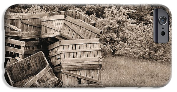 Agricultural iPhone Cases - Apple Crates Sepia iPhone Case by JC Findley