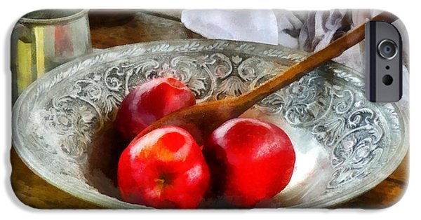 Tankard iPhone Cases - Apples in a Silver Bowl iPhone Case by Susan Savad