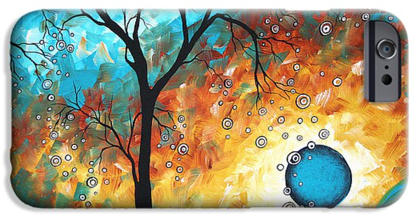 Sun Paintings iPhone Cases - Aqua Burn by MADART iPhone Case by Megan Duncanson