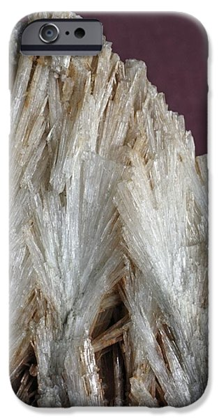 Fibrous Crystals iPhone Cases - Aragonite Crystals iPhone Case by Dirk Wiersma