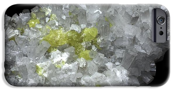 Fibrous Crystals iPhone Cases - Aragonite Crystals With Sulphur iPhone Case by Dirk Wiersma