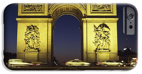 Built Structure iPhone Cases - Arc De Triomphe At Night iPhone Case by Axiom Photographic