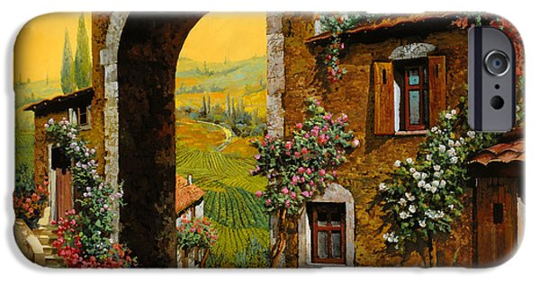 Orange Paintings iPhone Cases - Arco Di Paese iPhone Case by Guido Borelli