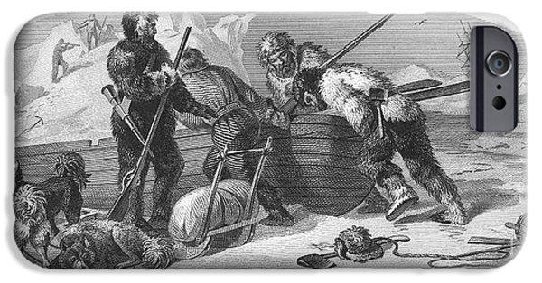 Arctic Dog iPhone Cases - Arctic Exploration, 1856 iPhone Case by Granger
