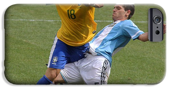 Clash Of Worlds iPhone Cases - Argentina vs Brazil Battle II iPhone Case by Lee Dos Santos