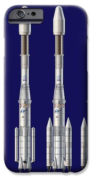 Ariane 4 Rocket Versions, Artwork iPhone Case by David Ducros