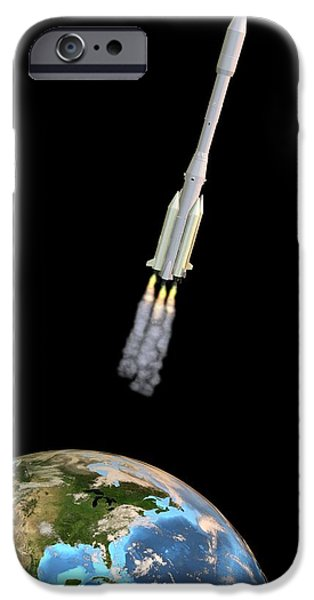Launching System iPhone Cases - Ariane 44l Rocket Launch, Artwork iPhone Case by Friedrich Saurer