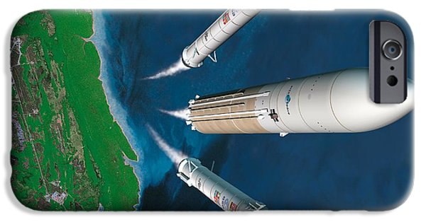 2000s iPhone Cases - Ariane 5 Rocket Launch, Artwork iPhone Case by David Ducros